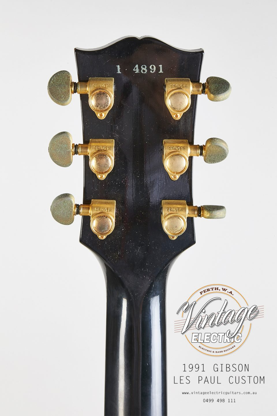 1991 Gibson Les Paul Custom Black Beauty Back of Headstock