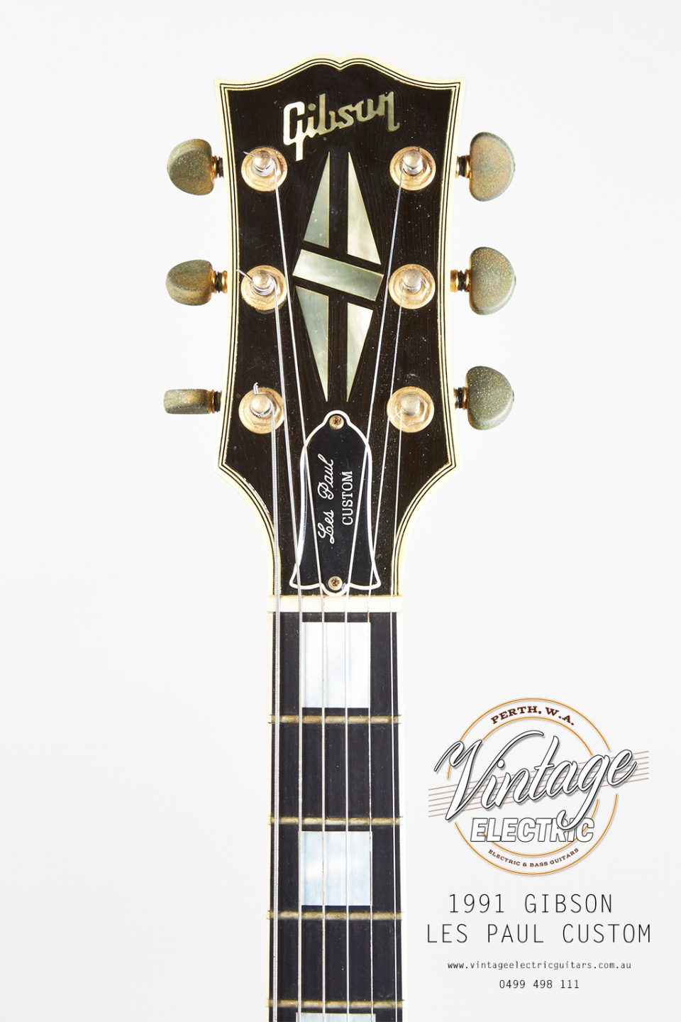 1991 Gibson Les Paul Custom Black Beauty Headstock