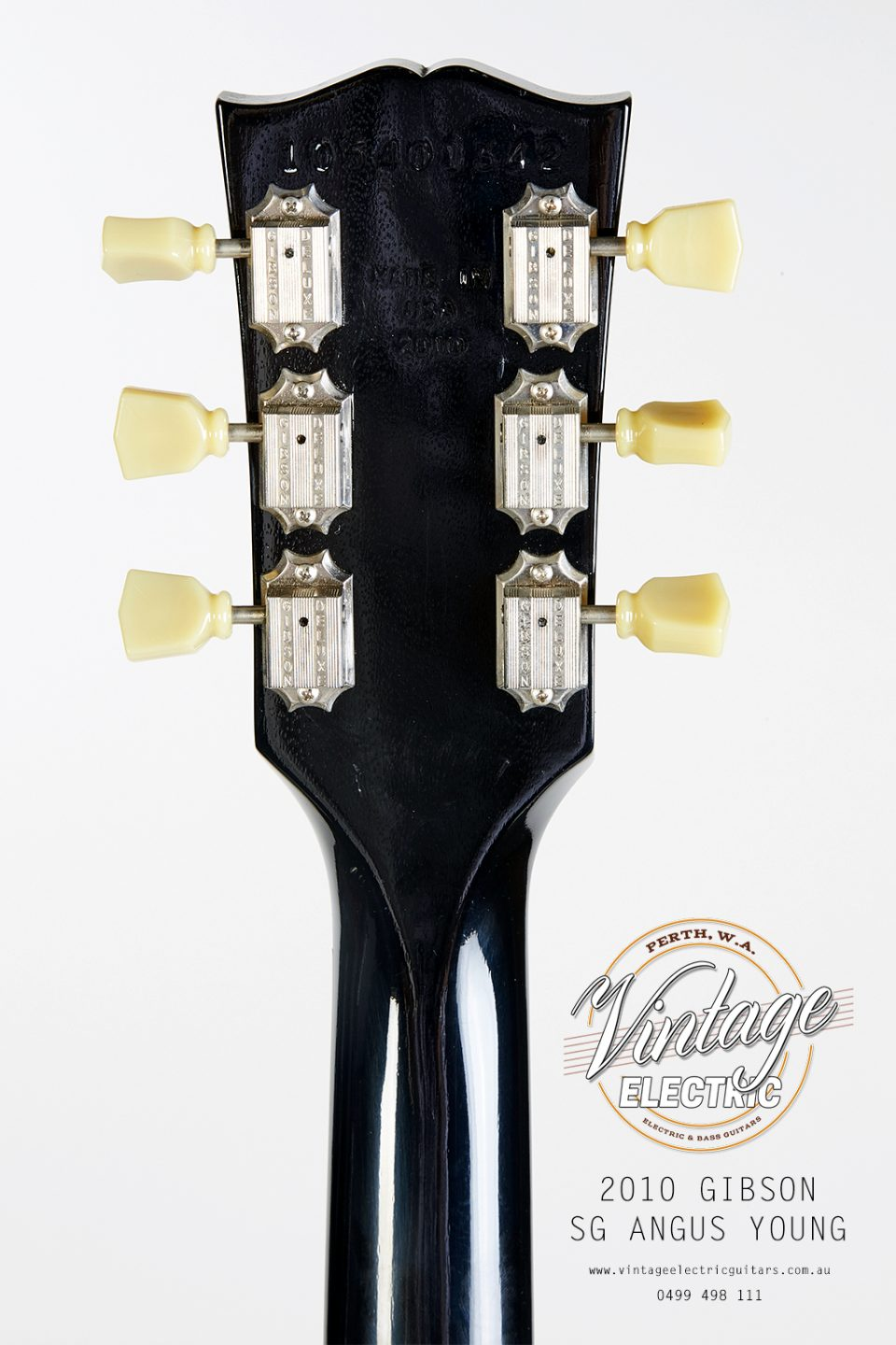2010 Gibson SG Angus Young Back of Headstock