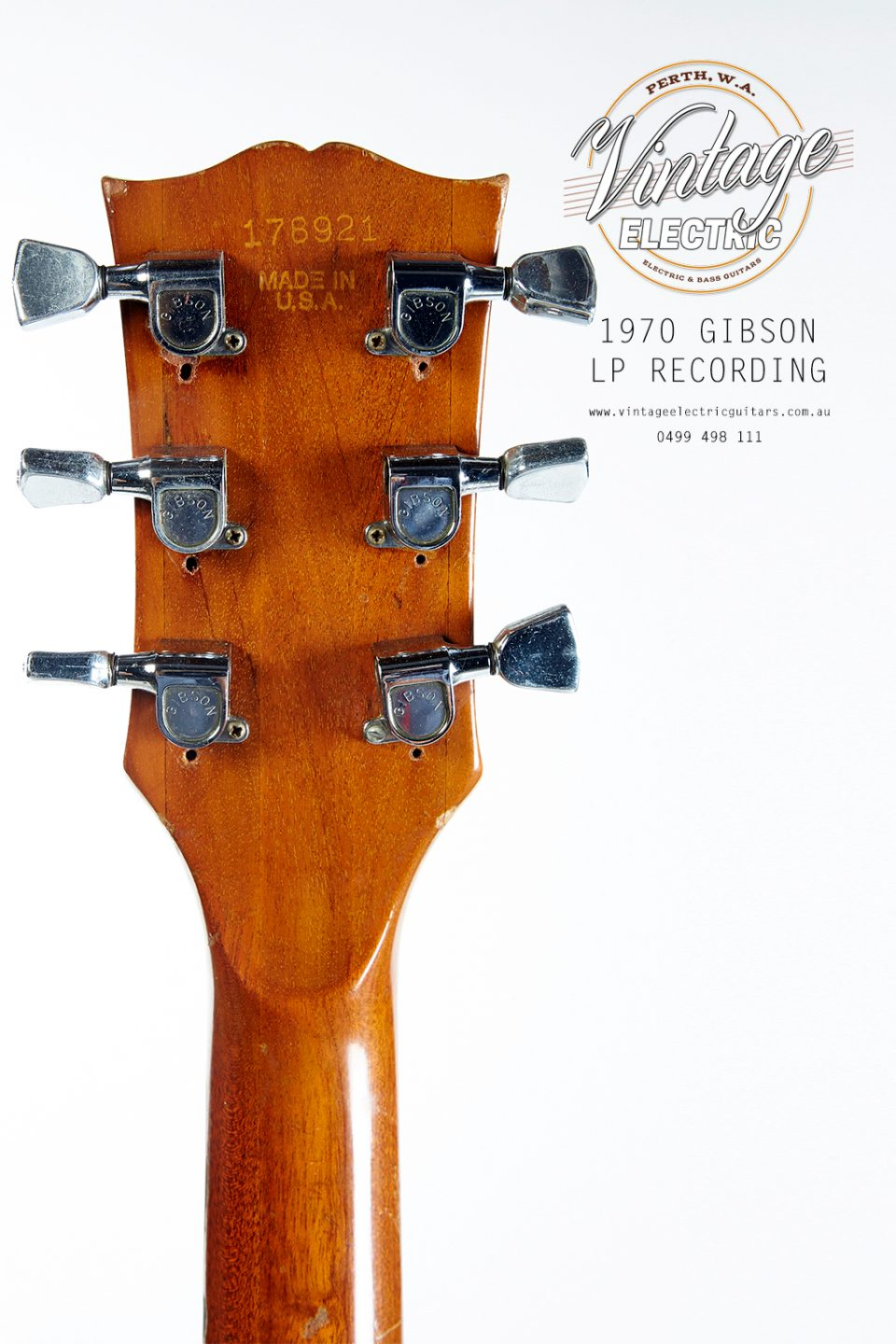 1970 Gibson Les Paul Recording Back of Headstock