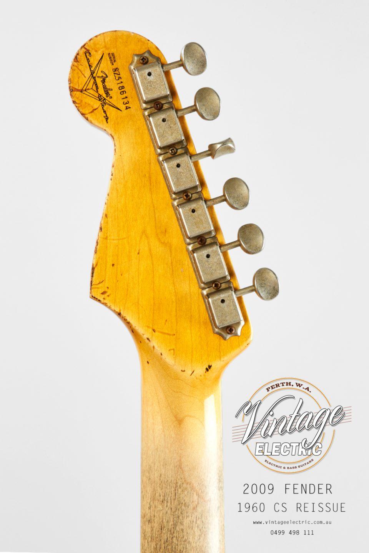 2009 Fender Stratocaster 1960 Firemist Gold Rear Headstock