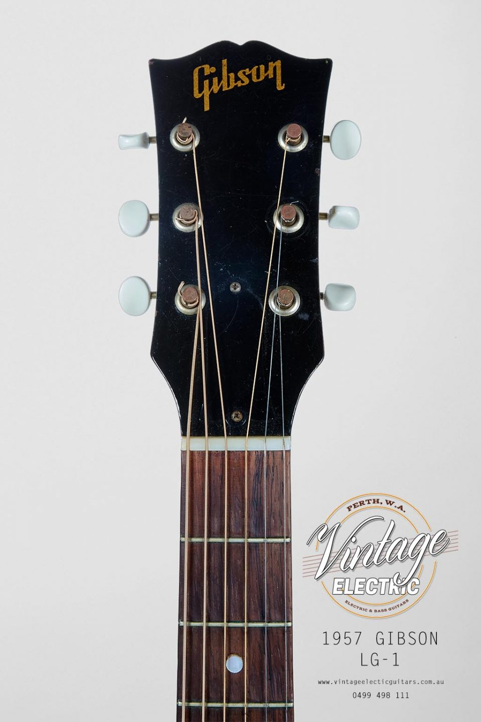 1957 Gibson LG1 Vintage Acoustic Headstock