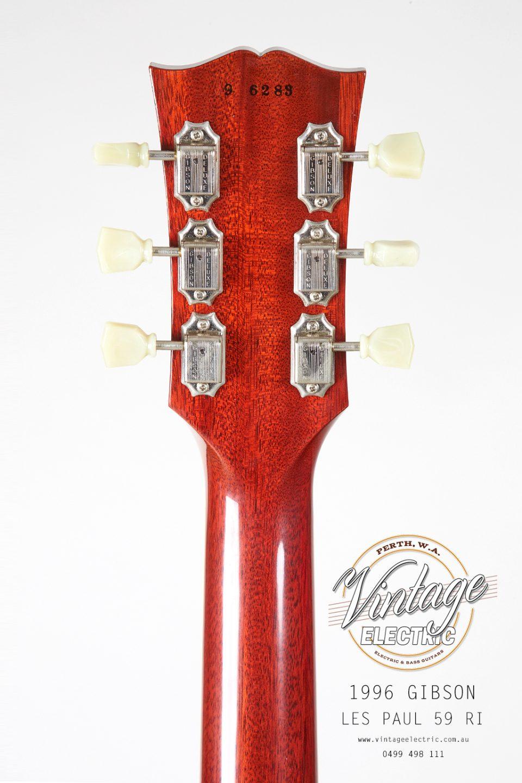 1996 Gibson Les Paul 59RI Back of Headstock