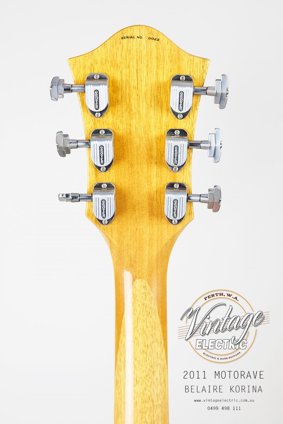 2011 MotorAve BelAire Korina Back of Headstock