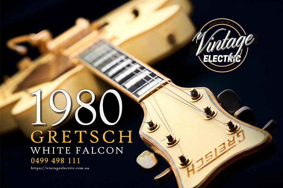1980 Gretsch White Falcon USA Headstock