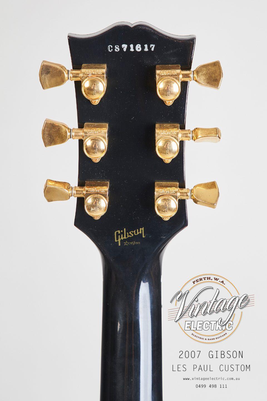 2007 Gibson Les Paul Custom Black Back of Headstock