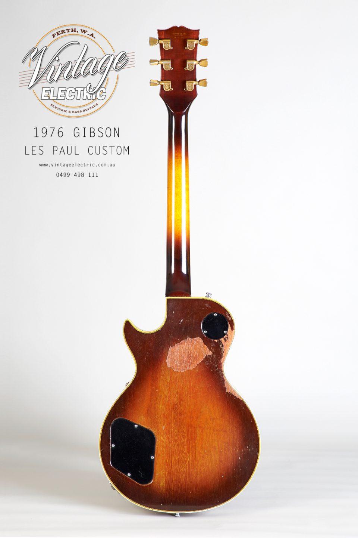 1976 Gibson Les Paul Custom Sunburst Back of Guitar