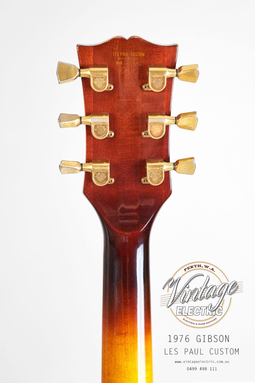 1976 Gibson Les Paul Custom Sunburst Back of Headstock