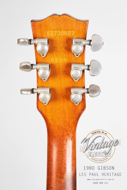 1980 Gibson Les Paul Heritage Elite Back of Headstock