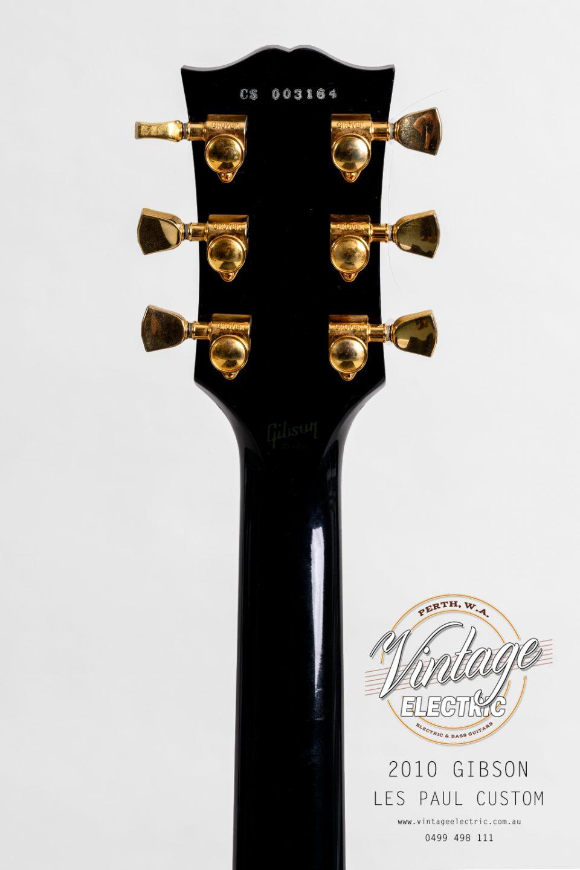 2010 Gibson Les Paul Custom Black Back of Headstock