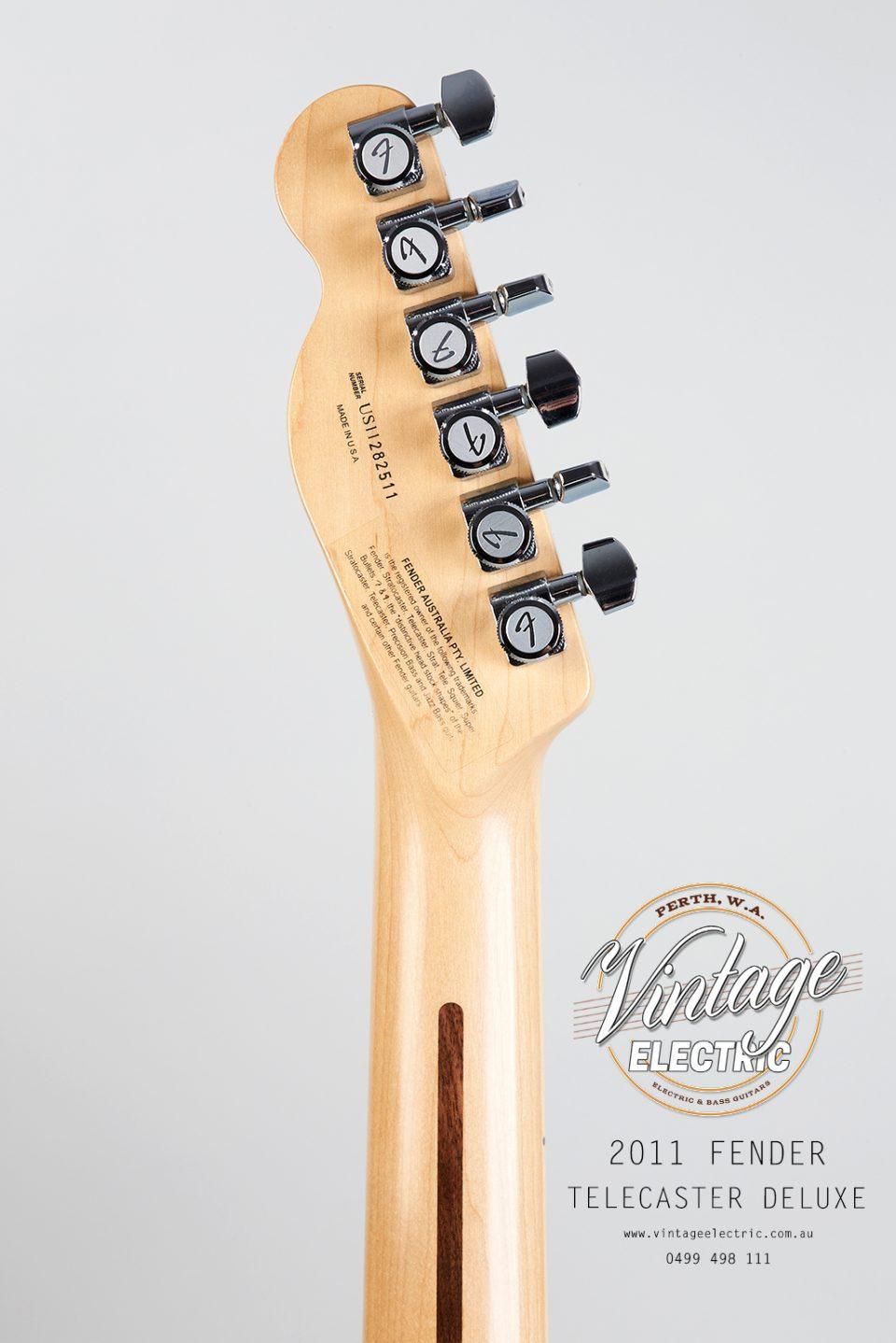 2011 Fender Telecaster Deluxe Back of Headstock